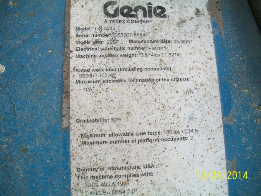 GENIE GS2032 Scissor Lift Stock #76913
