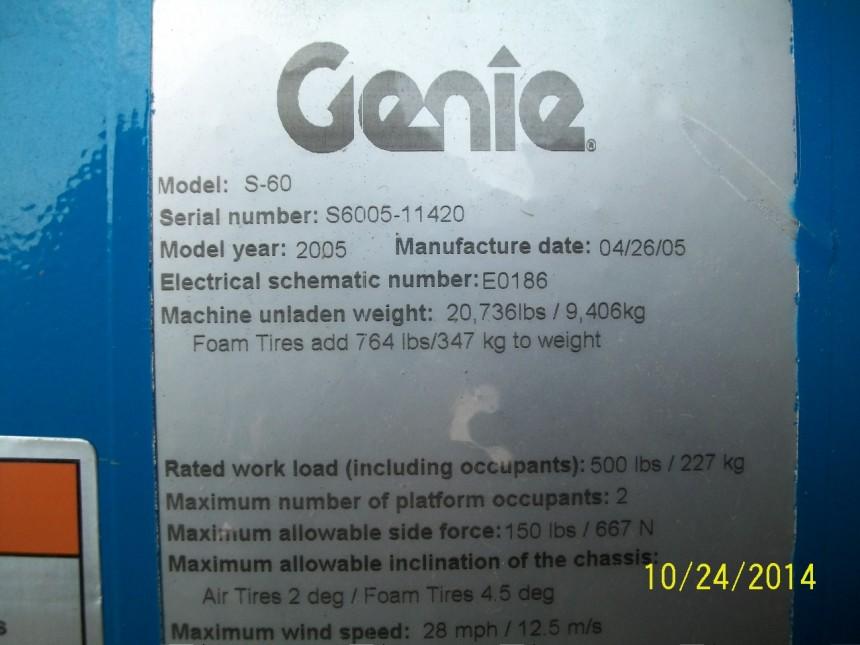 GENIE S60 Straight Boom Stock #77477