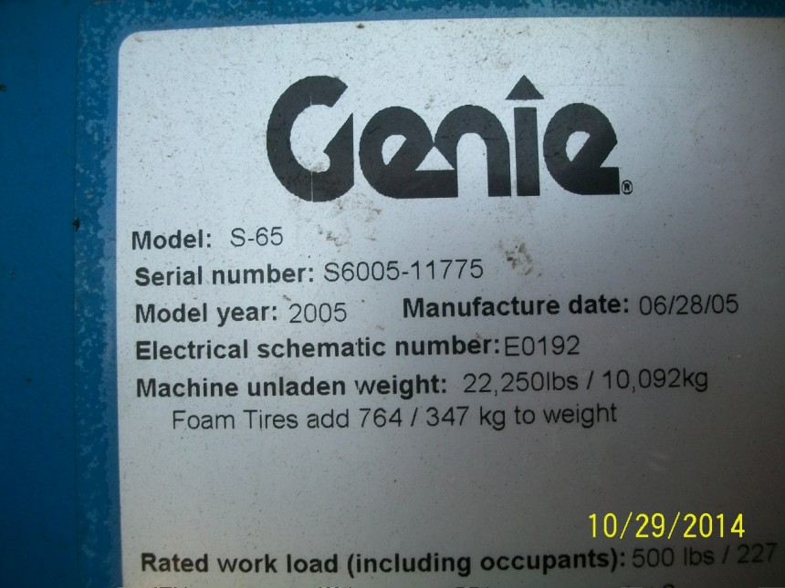 GENIE S65 Straight Boom Stock #78638