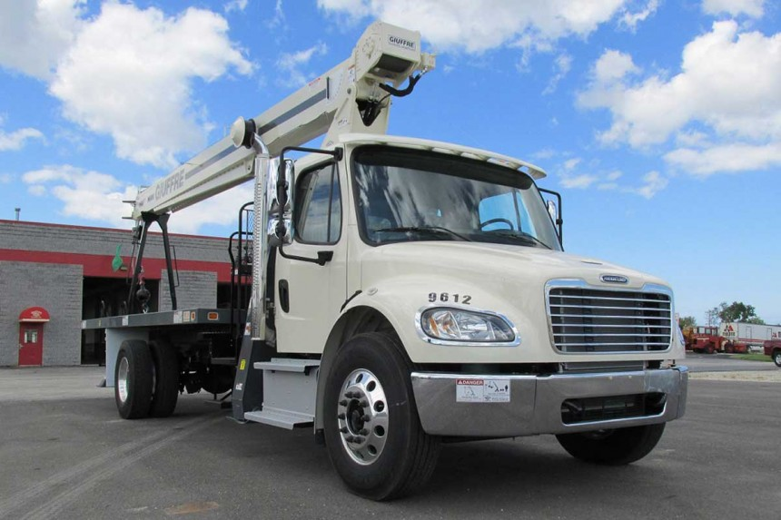 Terex BT3870 on 2014 Freightliner M2 106 Front curb side view