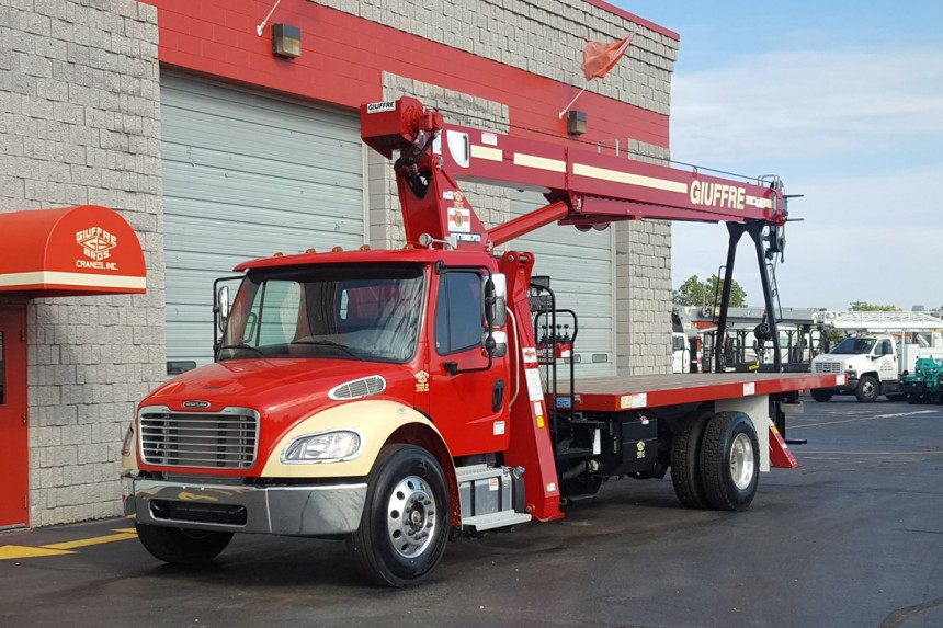 Terex BT3870 on 2015 Freightliner M2 106 - Front Driver's side view