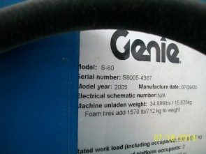 GENIE S80 Straight Boom Stock #77061