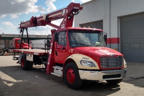 Terex BT3870 on 2012 Freightliner M2 106 - Front Passenger side view
