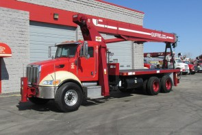 Terex BT4792 on 2006 Peterbilt truck front street-side view