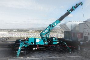 Maeda - MC285 Mini Crawler Crane Working on Rooftop