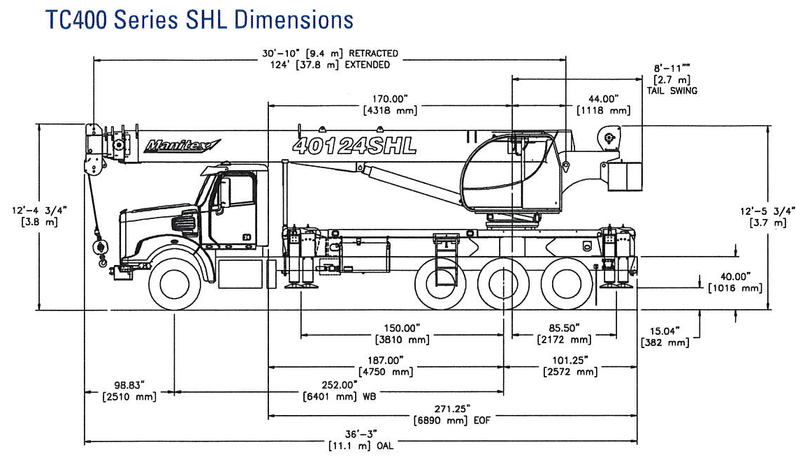 40124SHL Dimensions with Chassis