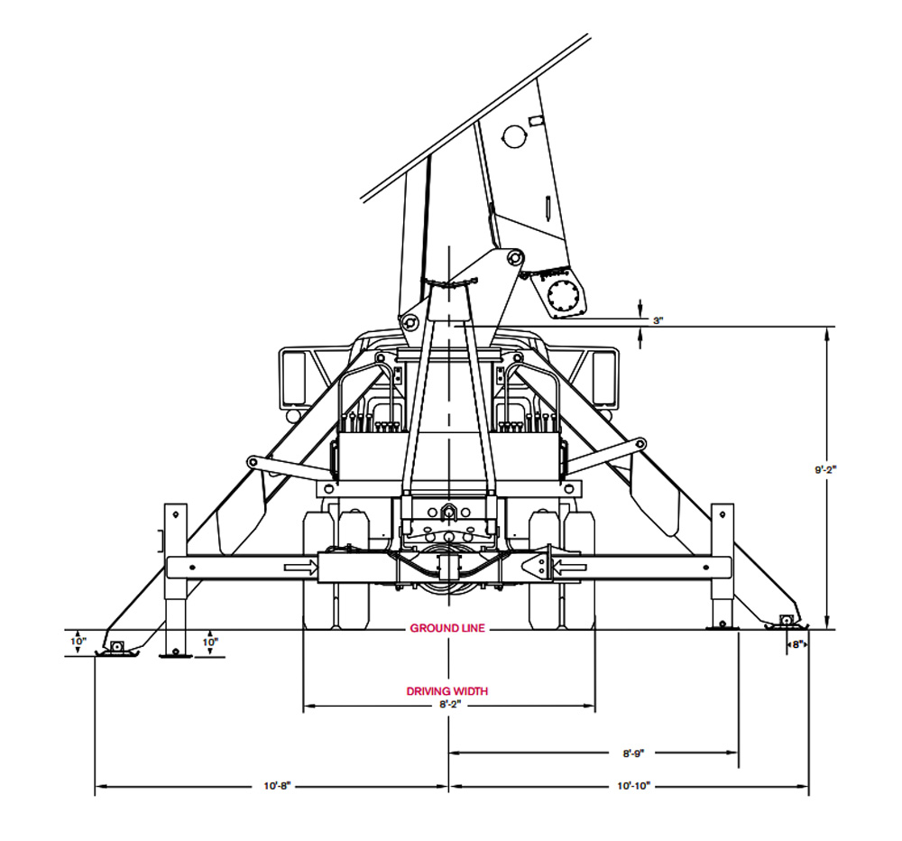 Terex BT5092 Boom Truck Outrigger Dimensions
