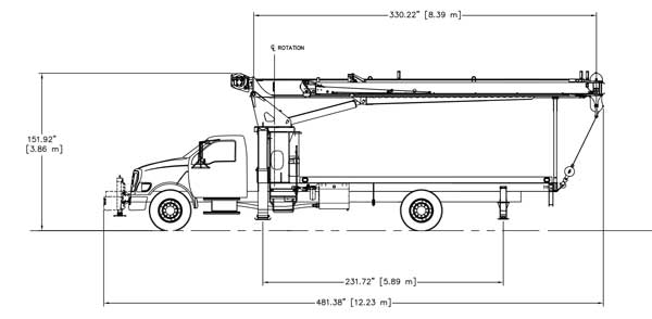 Terex BT3470 Standard Mount Side Dimensions