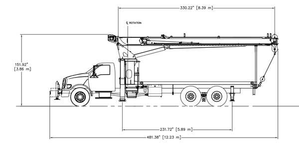 Terex BT3470 Tandem Axls Side Dimensions